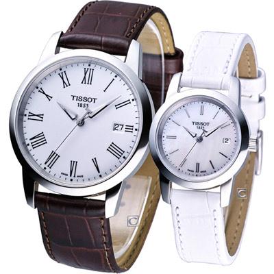 TISSOT Classic Dream 經典時尚對錶-白天版/38+28mm