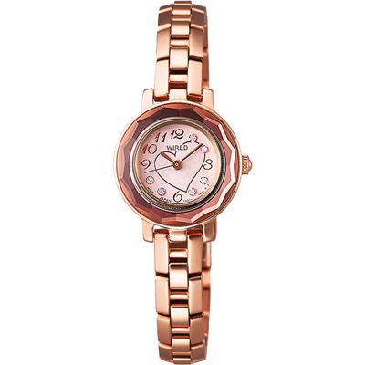 WIRED 璀璨之心時尚晶鑽腕錶-玫瑰金/22mm