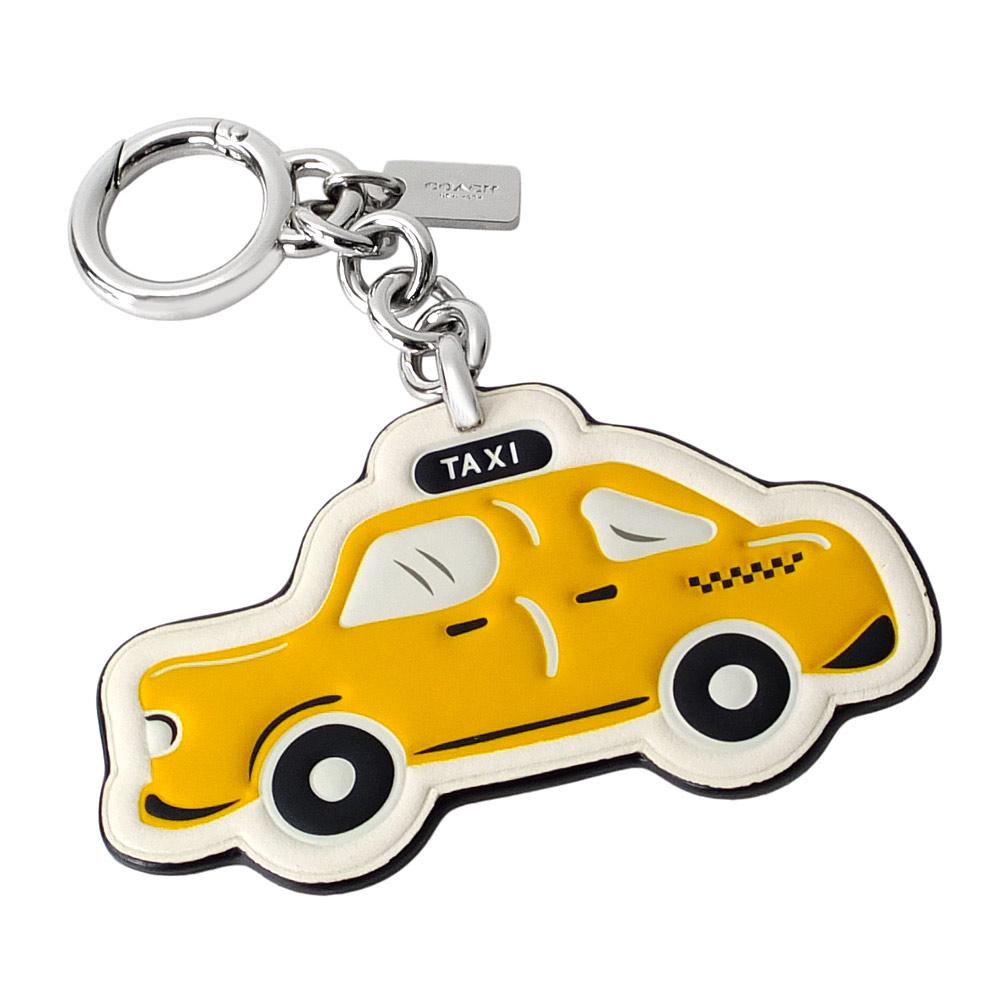 COACH紐約TAXI全皮掛飾圓形壓環鑰匙圈COACH