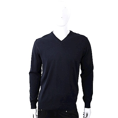 TRUSSARDI 皮革標深藍色針織羊毛衫