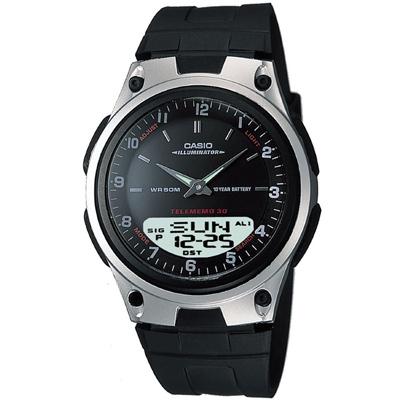 CASIO 都會時尚雙顯腕錶(AW-80-1A)-黑/40mm