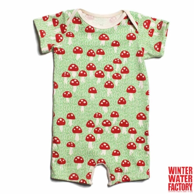 Winter Water Factory 紅色蘑菇短袖連身衣