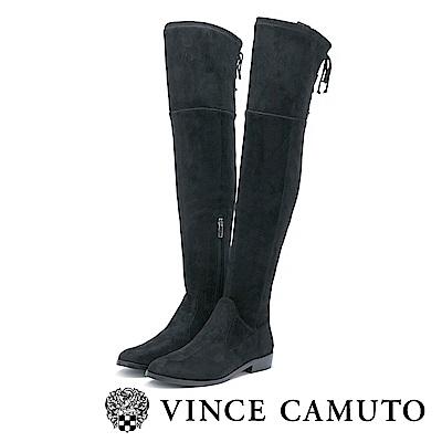 Vince Camuto  靜謐個性 綁帶拼接低跟過膝靴-黑色
