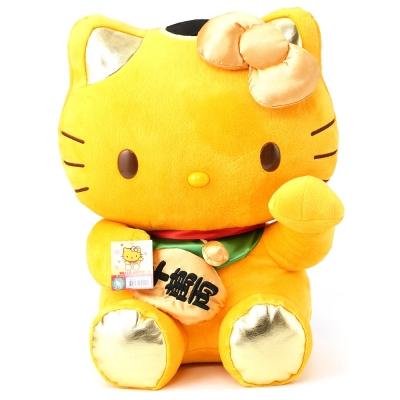 HELLO-KITTY大招財貓絨毛玩偶-金
