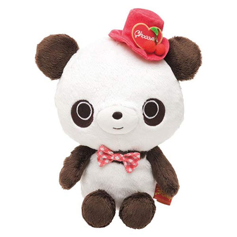 巧克貓熊櫻桃甜點系列毛絨小公仔。貓熊