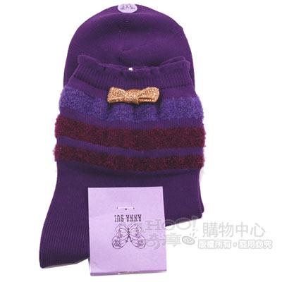 ANNA SUI 燦金蝴蝶結LOGO女毛短襪(紫)
