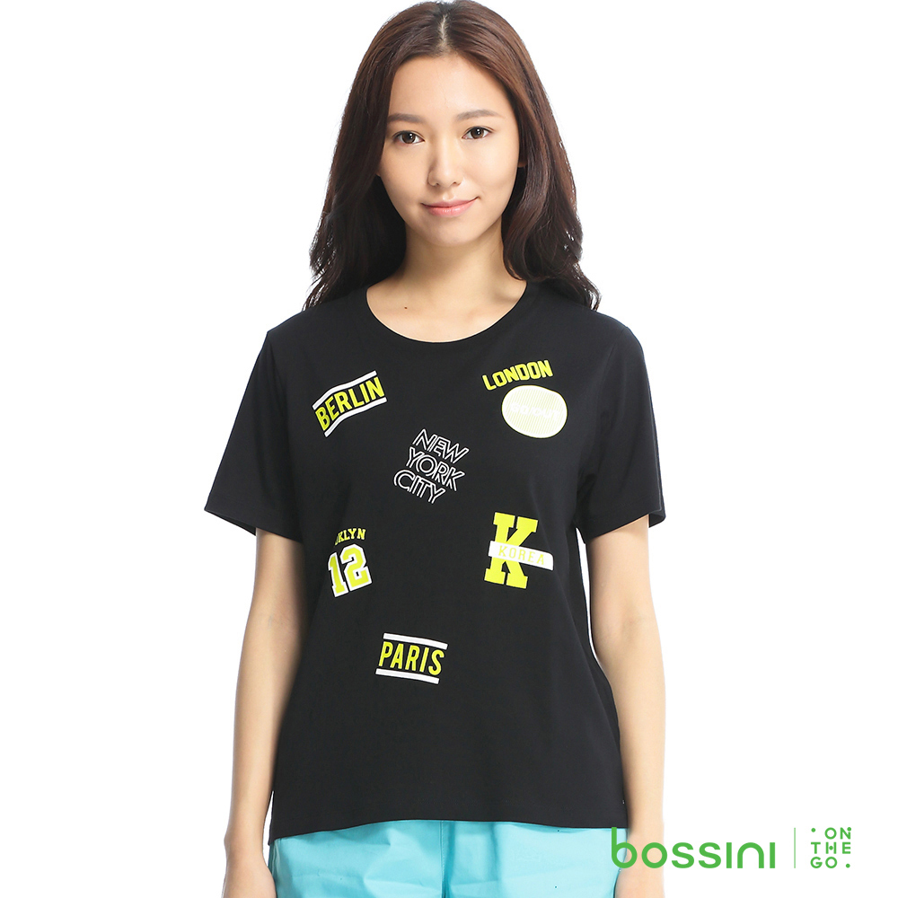 bossini女裝-印花短袖T恤04黑