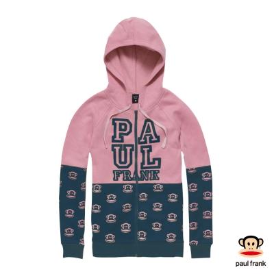 PAUL FRANK-撞色磨毛經典滿布連帽印花外套-粉紅(女)