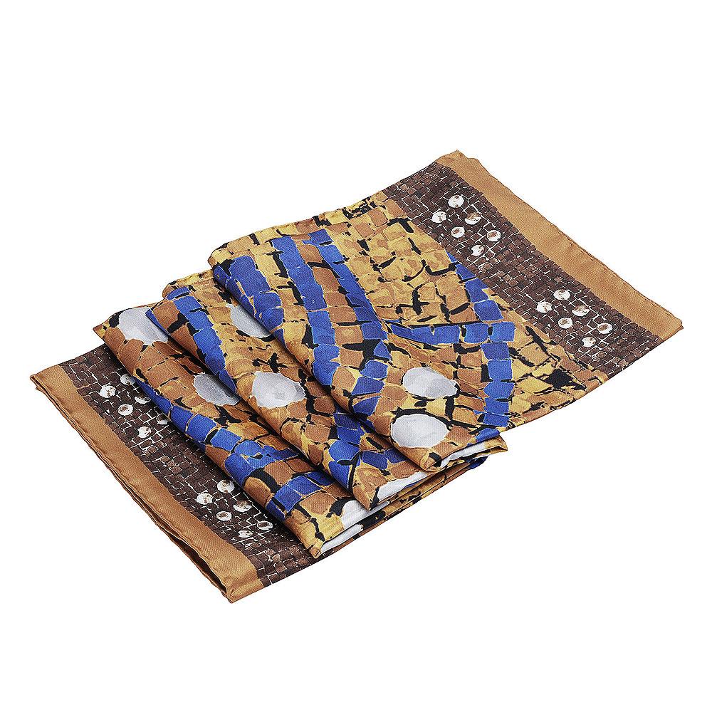 CHANEL 經典藍色方格線型大地色系絲綢方巾/圍巾(棕)