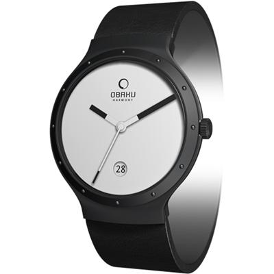 OBAKU 原創極簡時尚真皮腕錶-IP黑- 34 mm