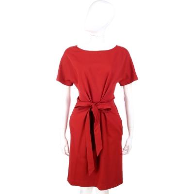 MOSCHINO 紅色綁腰設計短袖洋裝