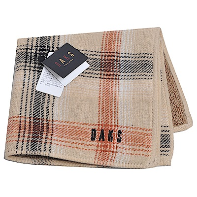 DAKS 虛線格紋圖騰品牌字母LOGO刺繡小方巾(卡其)