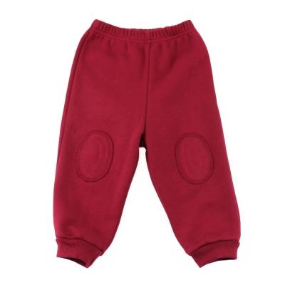 愛的世界 pappa&ciccia 鬆緊帶懷舊補丁束口長褲-紅/1~4歲