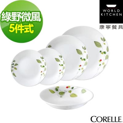 CORELLE康寧 綠野微風5件式餐盤組(502)