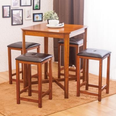 AS-蓓琪與芭芭拉吧檯桌椅組(一桌四椅)-75x75x91cm