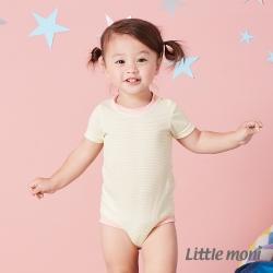 Little moni 涼感系列條紋肩開釦包屁衣  黃色