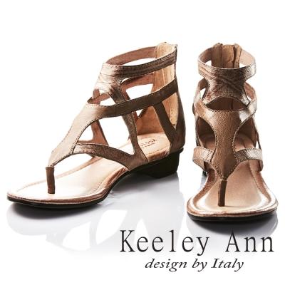 Keeley Ann 個性鏤空質感仿舊壓紋全真皮低跟T字夾腳涼鞋(咖啡色)