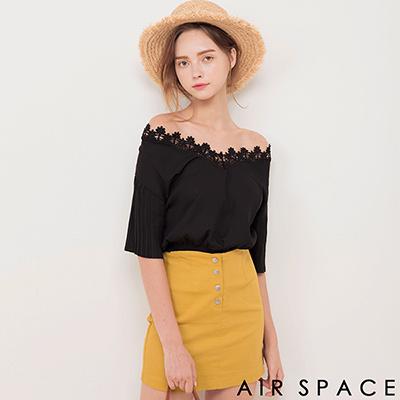 AIR SPACE 緹花蕾絲領荷葉袖縮腰上衣(黑)