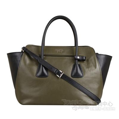 PRADA 經典文字浮雕LOGO牛皮雙色設計手提包/肩背包(軍綠/黑)