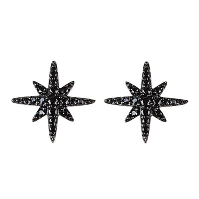 apm MONACO 黑晶鑽鑲飾小流星設計純銀耳環(黑)