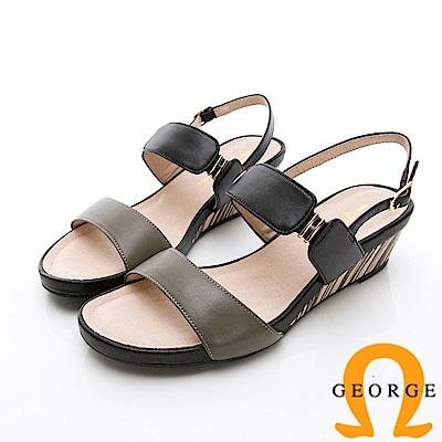 GEORGE 喬治-撞色木紋真皮扣環厚底涼鞋楔型鞋-綠