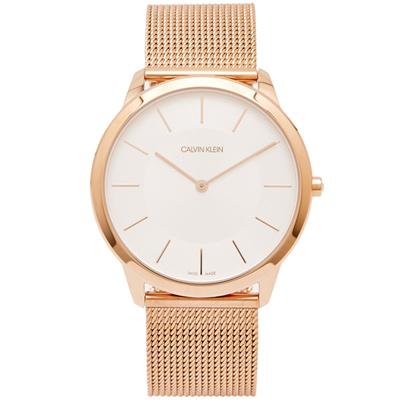 CK Calvin Klein 玫瑰金色的米蘭帶手錶(K3M2T626)-銀面/43mm
