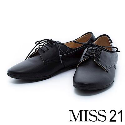 休閒鞋 MISS 21 素面全真皮綁帶平底休閒鞋-黑