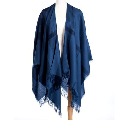 BURBERRY 輕盈格紋喀什米爾斗篷 藍色