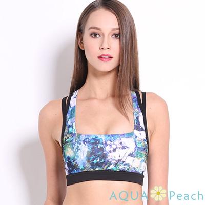 運動內衣 混色渲染縷空美背運動內衣 (藍色)-AQUA Peach