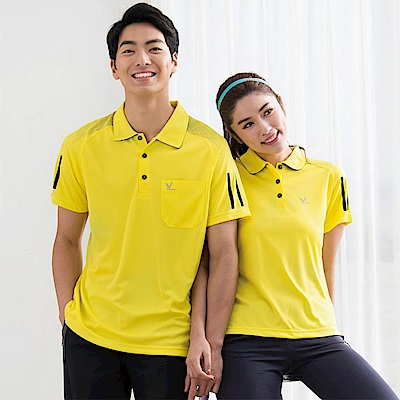 LEIDOOE黃底黑邊線女款短袖polo衫16691