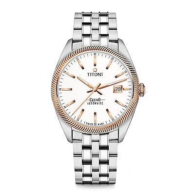 TITONI瑞士梅花錶 宇宙系列(878 SRG-606)白錶盤/金色錶圈/鍊帶/41mm