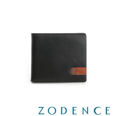 ZODENCE MAN 義大利牛皮系列配色LOGO設計多卡層短夾 黑