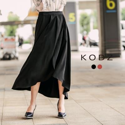 東京著衣-KODZ 質感垂墜下擺不規則復古長裙-S.M.L(共二色)