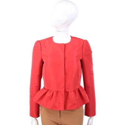 RED VALENTINO 橘紅色荷葉襬蝴蝶結飾腰身外套