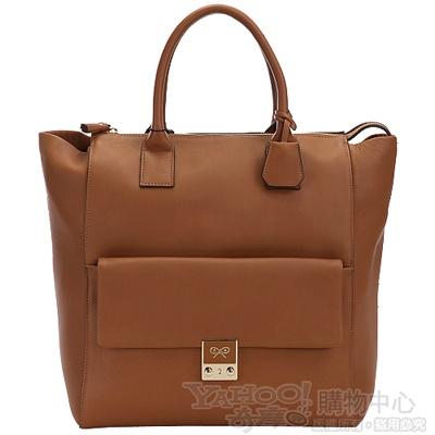 ANYA HINDMARCH 「CARKER 」 棕色牛皮前袋造型設計托特包
