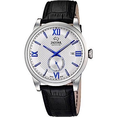 JAGUAR積架 Acamar 小秒針紳士手錶-銀x藍時標/42.5mm