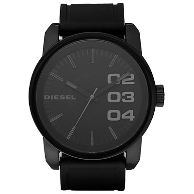 DIESEL-忍者戰將時尚橡膠腕錶-黑-53-46mm
