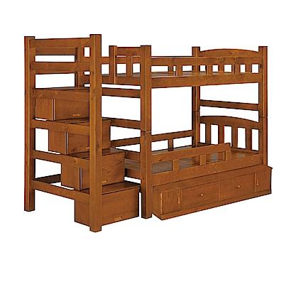 品家居 薩琳3.5尺實木單人收納雙層床架組合-116x270x180cm免組
