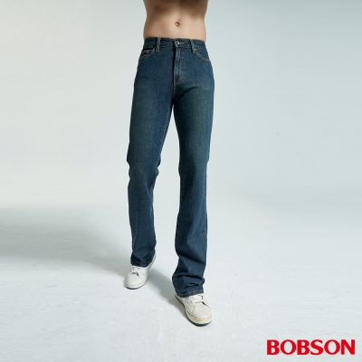 BOBSON 男款雙向伸縮淺藍喇叭褲