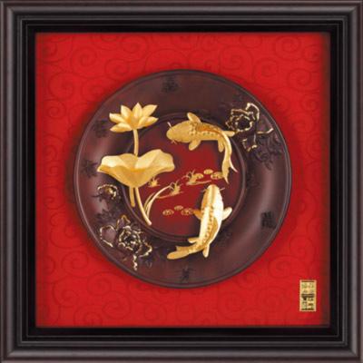 雅鑑鑫品金箔畫 圓盤系列(小)鯉魚 連年有餘-23x23cm