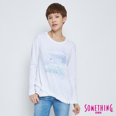 SOMETHING 下擺流蘇長袖T恤-女-白色