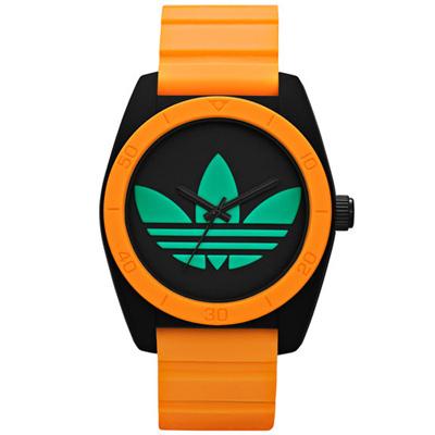 adidas 街潮撞色繽紛三葉休閒腕錶-黑橘x綠面/40mm