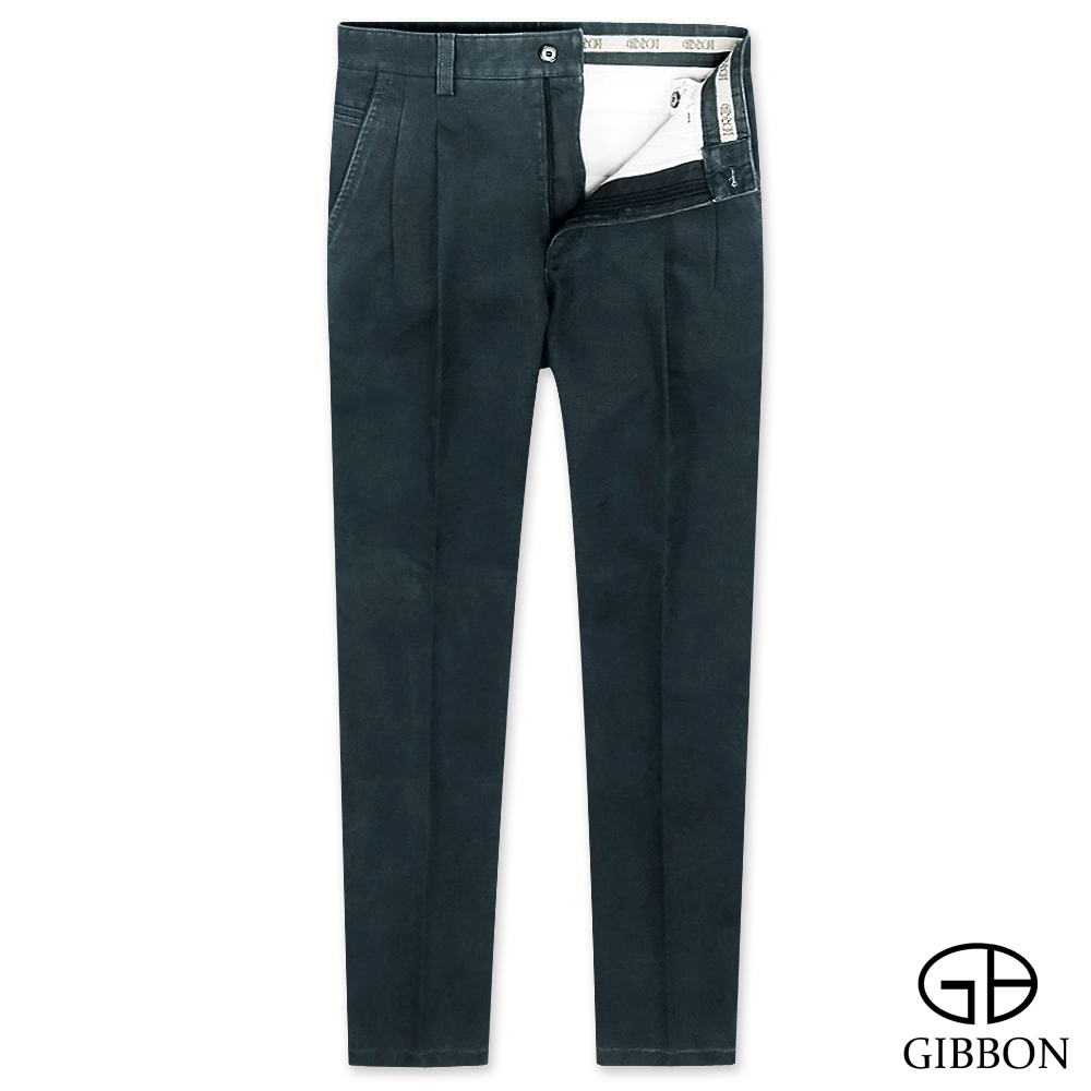 GIBBON 彈性厚質打摺休閒長褲‧暗藍30-42