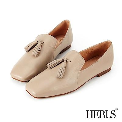 HERLS 隨性自在 全真皮流蘇方頭樂福鞋-奶茶杏