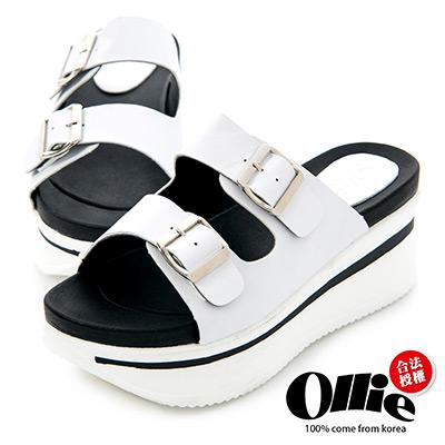 Ollie韓國空運-正韓製皮革雙帶扣飾厚底拖鞋-白
