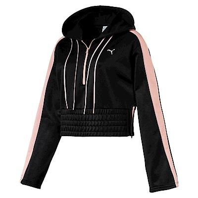 PUMA-女性流行系列芭蕾風長厚連帽T恤-黑色-亞規
