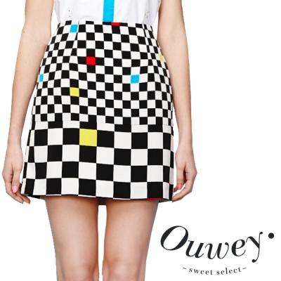 OUWEY歐薇-玩趣棋盤格俐落窄裙