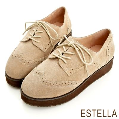 ESTELLA-英倫好感-牛麂皮雕花牛津厚底鞋-米