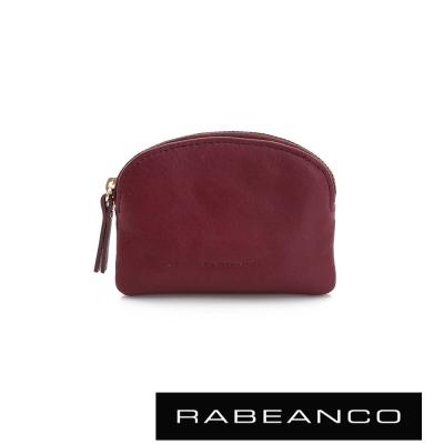 RABEANCO-迷色彩牛皮系列拉鍊零錢包-棗紅