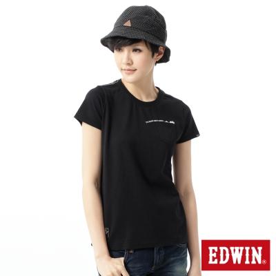 EDWIN-T恤-標語貼袋T恤-女-黑色